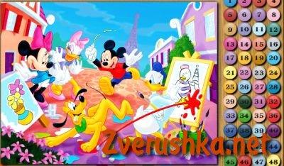 Игри за оцветяване с примери. Мики Маус