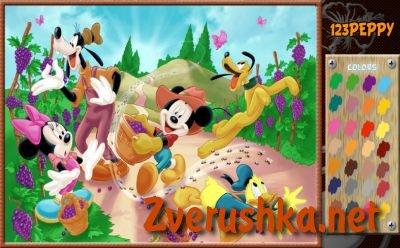 Игри за оцветяване. Мики Маус в градината