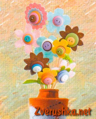 Идеи за детско творчество от копчета.