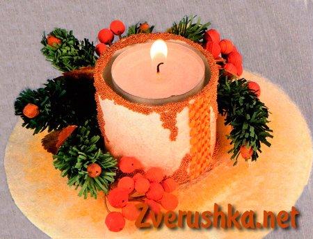 Коледна украса свещник.