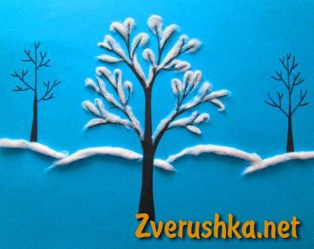 зимна картина от памук